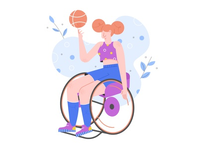 Wheelchair Basketball disabled basketball wheelchair girl sport illustration