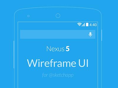 Nexus 5 Wireframe UI .sketch freebie freebie free sketchapp wireframe ui template nexus 5