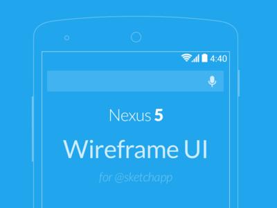 Nexus 5 Wireframe UI .sketch freebie