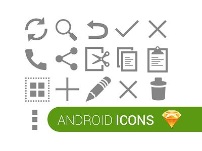 Android Icons for Sketch 3 @sketchapp sketchapp android icons sketch freebie free .sketch icon mobile app vector
