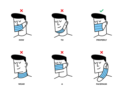 How to wear a mask? pandemic illustrator concept covid19 coronavirus mask vector design character illustration