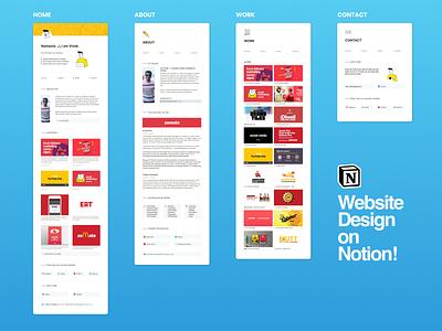 Website on Notion! no code website no code graphic branding design work yellow white zomato art director art portfolio ux ui notion web design website webdesign