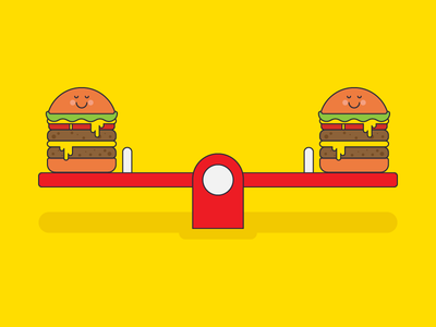 A well-balanced diet... character cheese balance hamburger see saw diet hungry eat illustration food burger vector