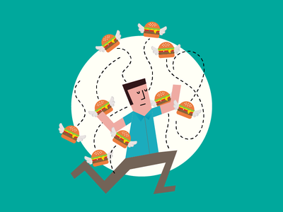 Fighting the URGE in BURGER! character design clean art work abstract illustration 2d vector