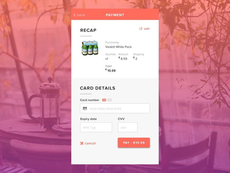Daily UI 002 | Credit Card Checkout app mobile recap payment card ecommerce checkout credit card