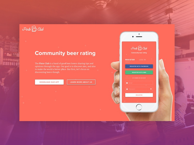 Daily UI 003 | Landing Page (Above The Fold) beer ios mobile laptop app landing page