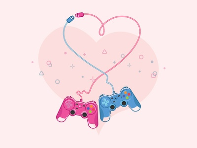 Hobbies Play couple heart game hobby love photoshop illustrator logitech gamepad