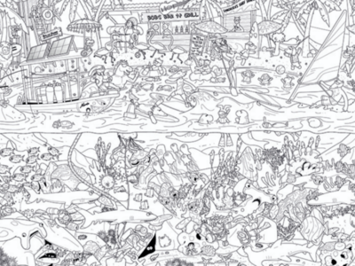 Busy beach colouring poster