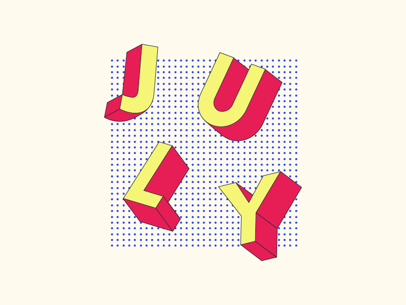 july july 3d pattern design typography