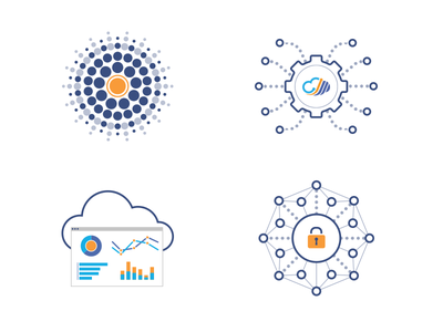 Deepfield Icons security cloud diagram technology network clean illustration icons