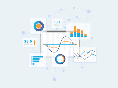 Deepfield illustration complex network graph stats security analytics illustration