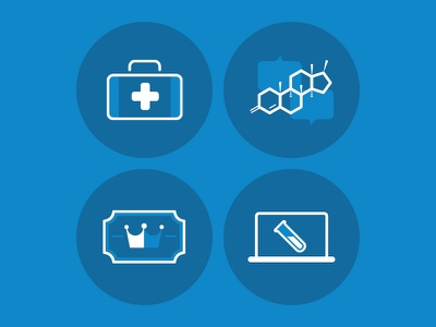 PHD icons health molecule medical blue illustration icons
