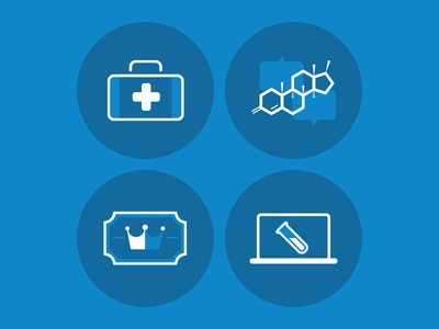PHD icons health molecule medical blue illustration icons