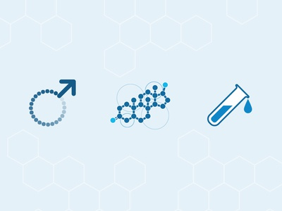 PHD page icons health molecule medical blue illustration icons