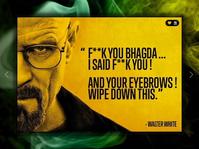 Day 007 - Quote card black yellow typography breaking bad interface ui quote card