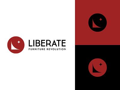 Liberate logo star revolution furniture symbol logo mark app icon branding logo design