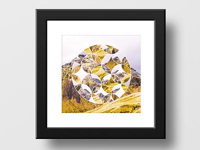 Abstract artwork mountain yellow frame art abstract