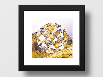 Abstract artwork mountain yellow frame art abstract