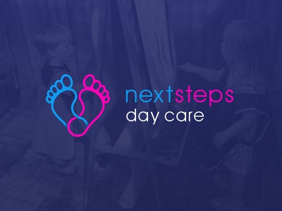 Next Steps Day Care Logo embroidery t-shirt design graphic design kids children day care nursery logo mark branding design logo design