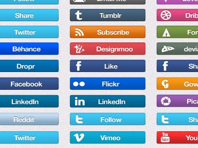 Social Icon Set V1.0 social icon media button set