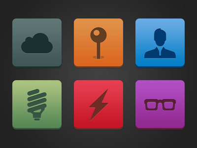 Semi-flat buttons button icons flat cloud user glasses bulb energy blue green red purple orange picas