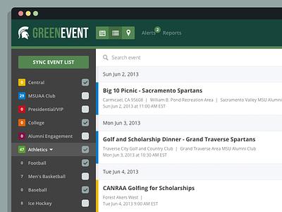 Event Calendar Web App events calendar web app flat msu spartans icons green