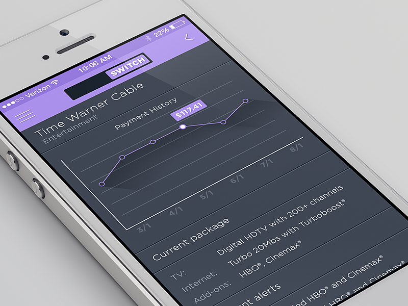 Mobile app account screen mobile app chart purple ios7