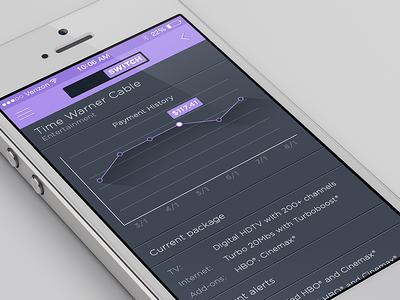 Mobile app account screen