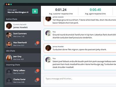 Chat Interface chat ui interface x-men red green dark light list message flat