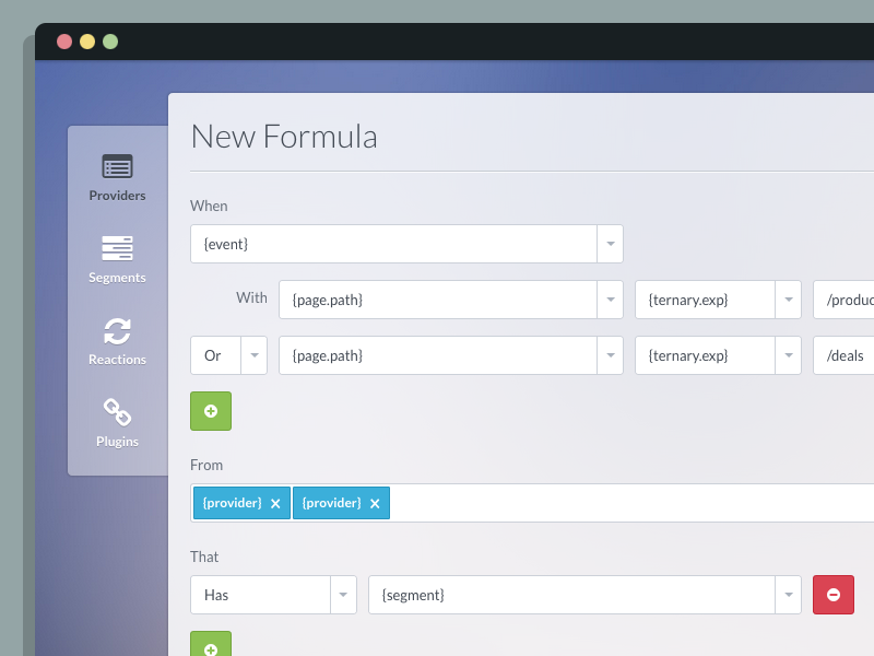 Formula builder ui admin form builder frost blue green red buttons lato font awesome