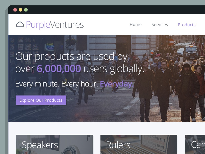 PurpleVentures flat purple landing page