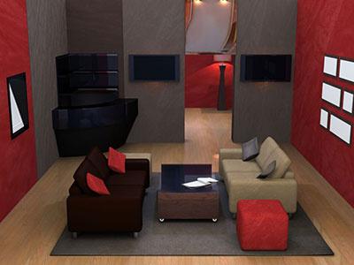 Interior Director Red Room animation render 3d
