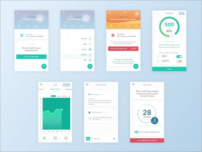 AMMA UI Design google material design floating action button user interface cards asthma healthcare app ux ui