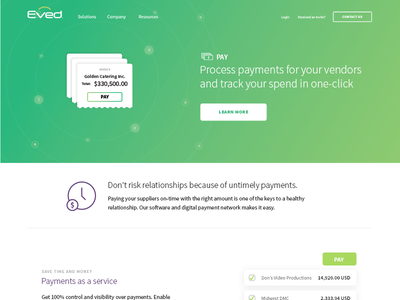 Eved Pay landing page receipt design ui ux product gradient green payment website