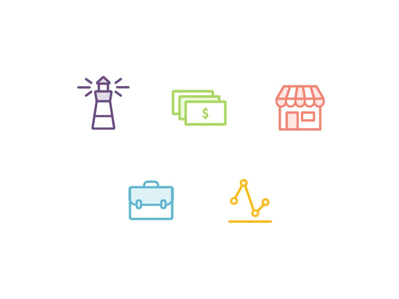 Solution Icons bills briefcase analytics lighthouse vendor merchant business money icons