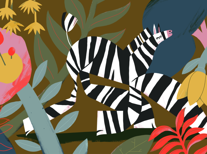 Funkmachine flowers nature illustration animals mammals safari jungle nature zebra wildlife