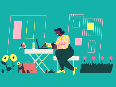 Outside working space bird worklife illustration urban development housing outdoors office co working space