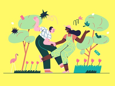 Lindy_hop in a park flowers romance date city characters couple trees park dancing