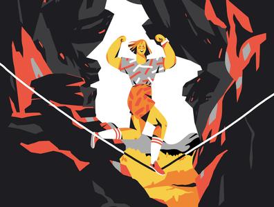 slackline nerd health app desig sports character apple hiking nature mountains bouldering slackline