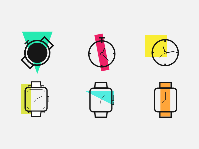 Watches iconset icon illustration pocket watch apple time clock watch