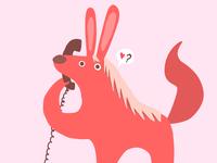 A bunny horse on the phone