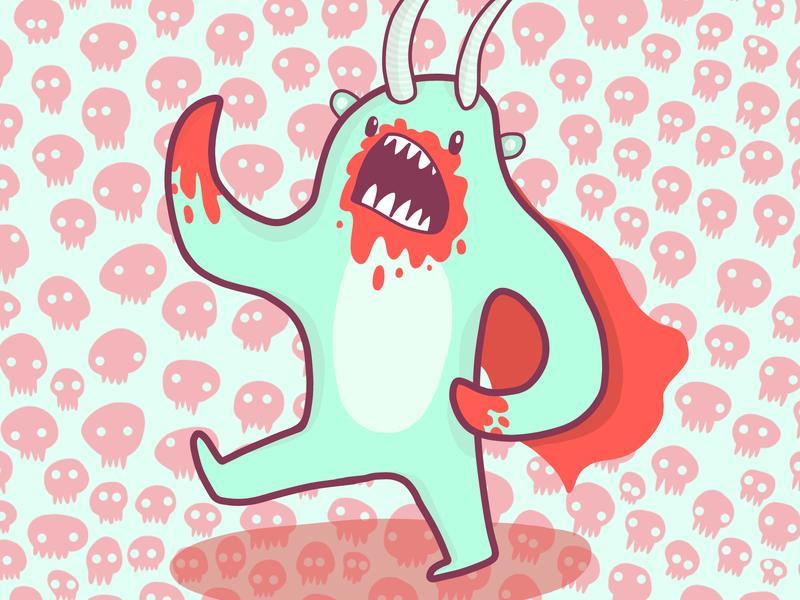 Cute Monster illustration skull pattern monster adobe illustrator pattern illustrator cute drawing vector illustration adobe draw illustration
