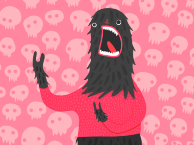 Fluffy scream face adobe illustrator pattern drawing adobe draw skull pattern illustrator cute vector illustration scream illustration