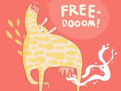Freedom Cow animal drawing adobe illustrator illustrator drawing vector illustration adobe draw illustration milky vegan cows free milk cow