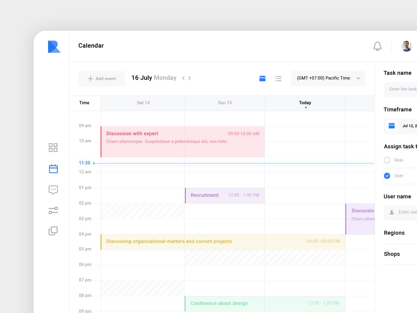 PR - Calendar timesheet time vector web ux ui kit ui calendar event task oj ios interface icon experience estate design detail applicaiton app