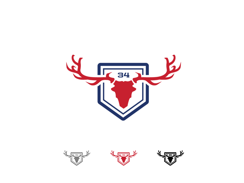 SANCTUARY blue red illustrator ranch home-plate america deer sanctuary hunting logo baseball