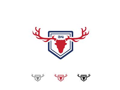 SANCTUARY blue red illustrator ranch home-plate america deer sanctuary hunting logo baseball