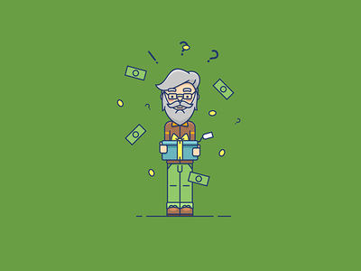 Gift from the Grandpa coins money present gift vector corel draw corel grandfather