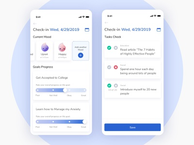 Goal Progress Check in Mobile progress bar treatment mental health mood application illustration emoji tasks todo list progress checkin goal clean platform ui
