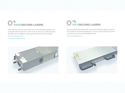 Product Page of Laser Manufacture Company product dotted technics ui web neon laser white clean